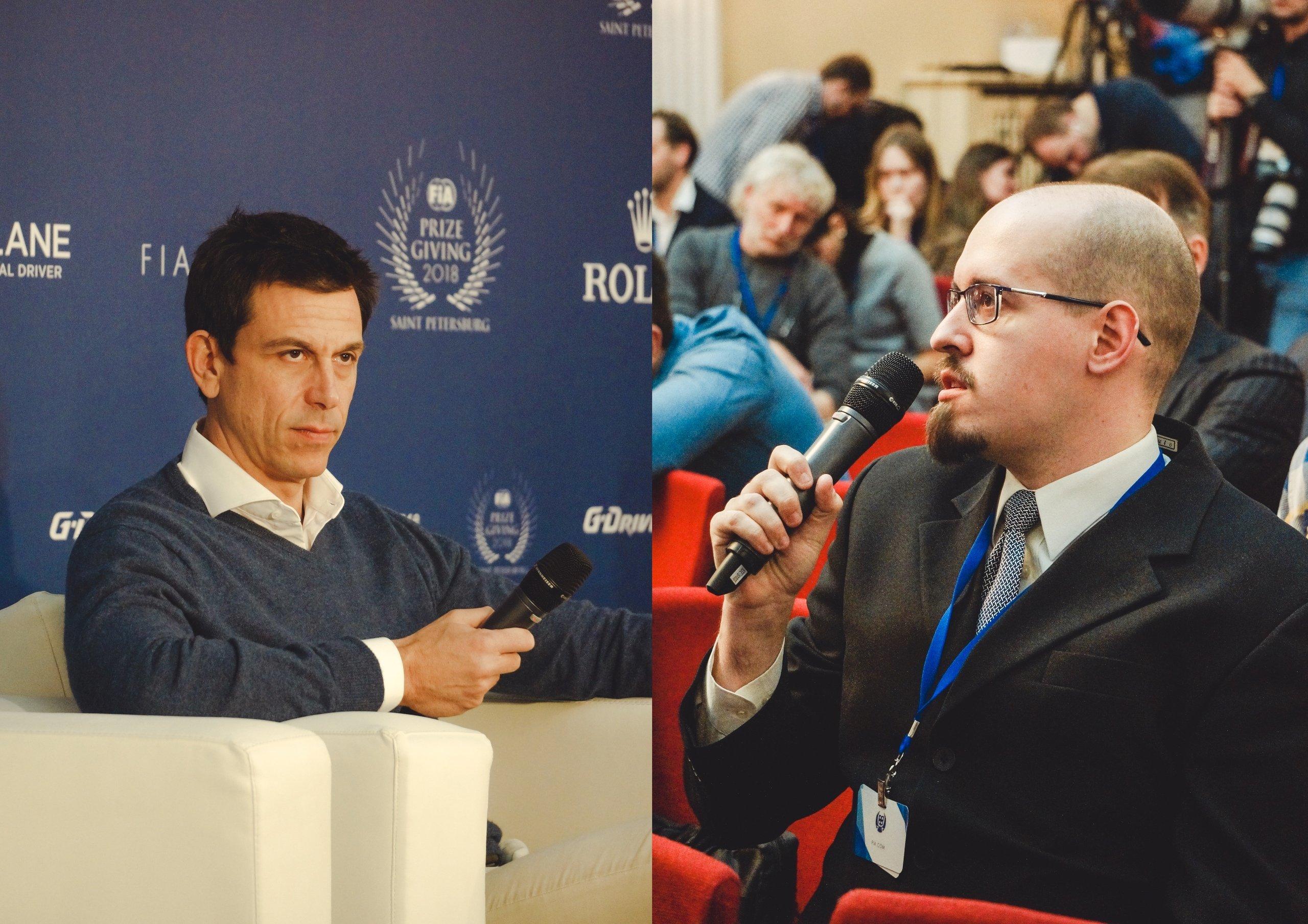 Тото Вольфф отвечает на вопрос Fun Formula на пресс-конференции ФИА в Санкт-Петербурге