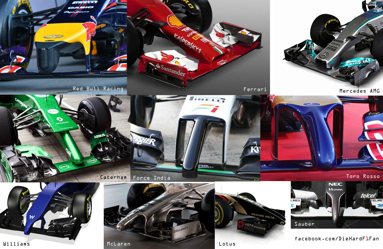 Носовые части автомобилей Ф1 2014 года
