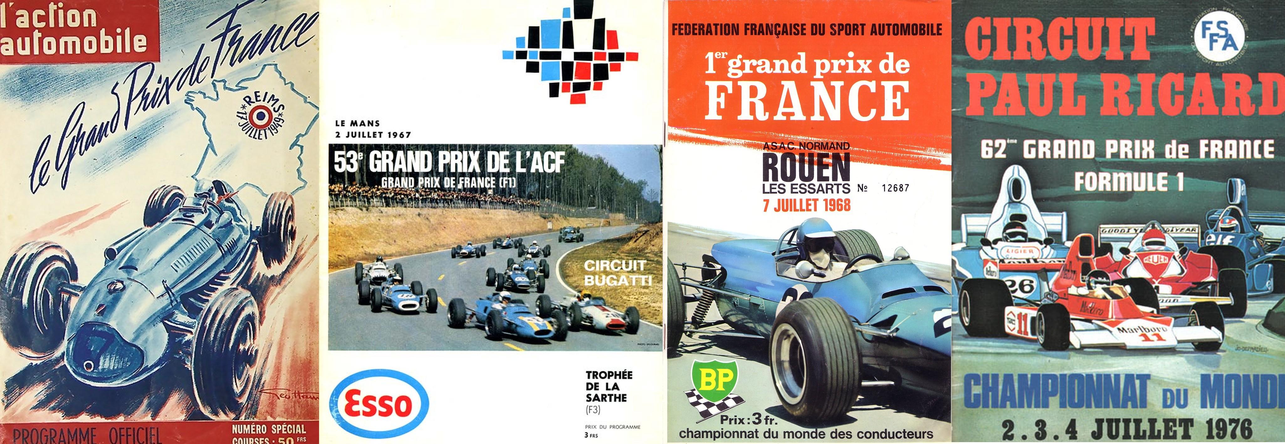 Обложки программок гран-при Франции