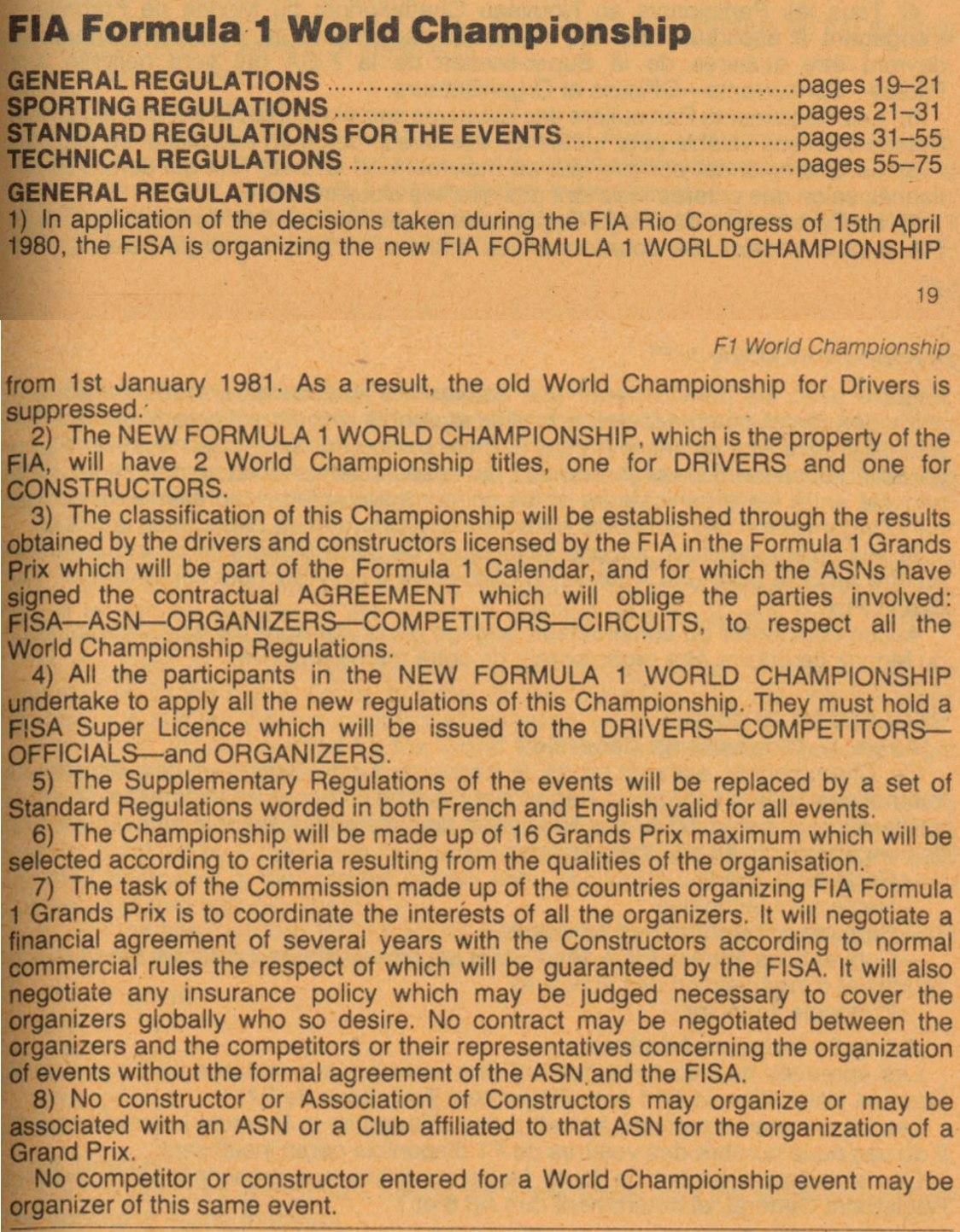 """Заглавная страница регламента """"Формулы-1"""" из ежегодника ФИА 1981 года"""