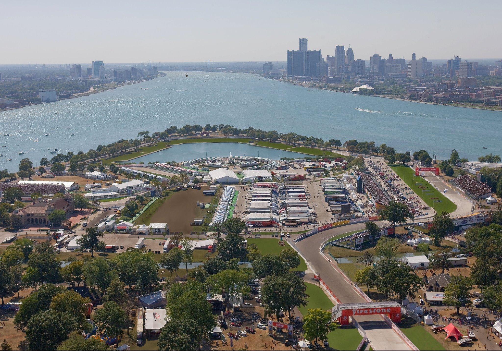 Вид на трассу Гран-при Детройта