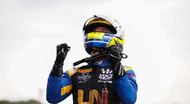 """Лука Гьотто выиграл первую гонку """"Формулы-2"""" в Великобритании, Мазепин сошел за несколько метров до финиша"""