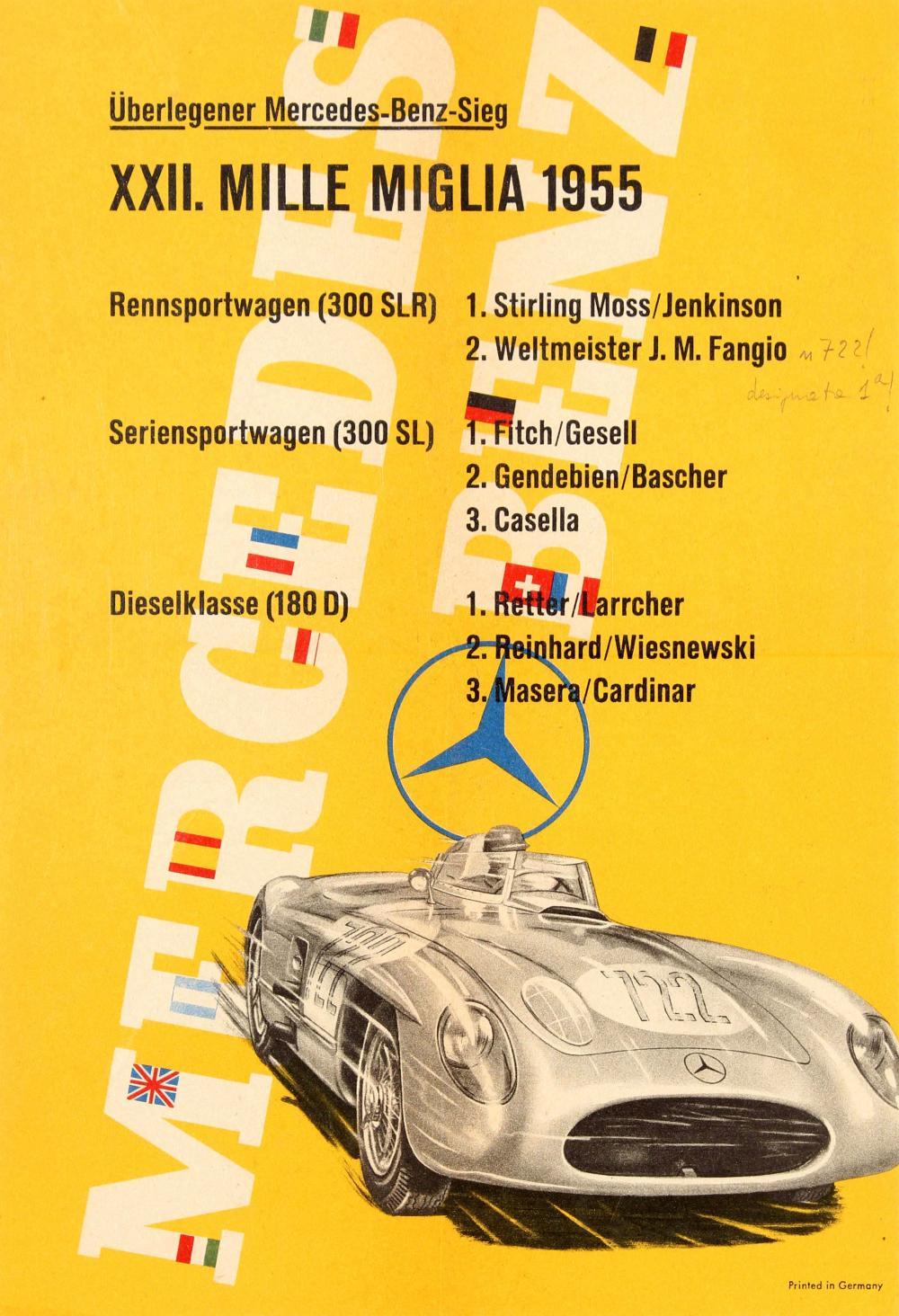 """Плакат, выпущенный """"Мерседес"""" в честь успеха в """"Милле Милья"""""""