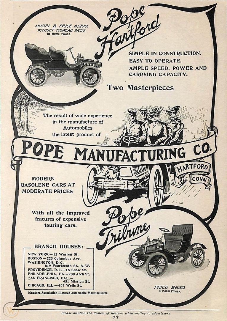 """Реклама автомобилей """"Поуп"""" 1904 года"""