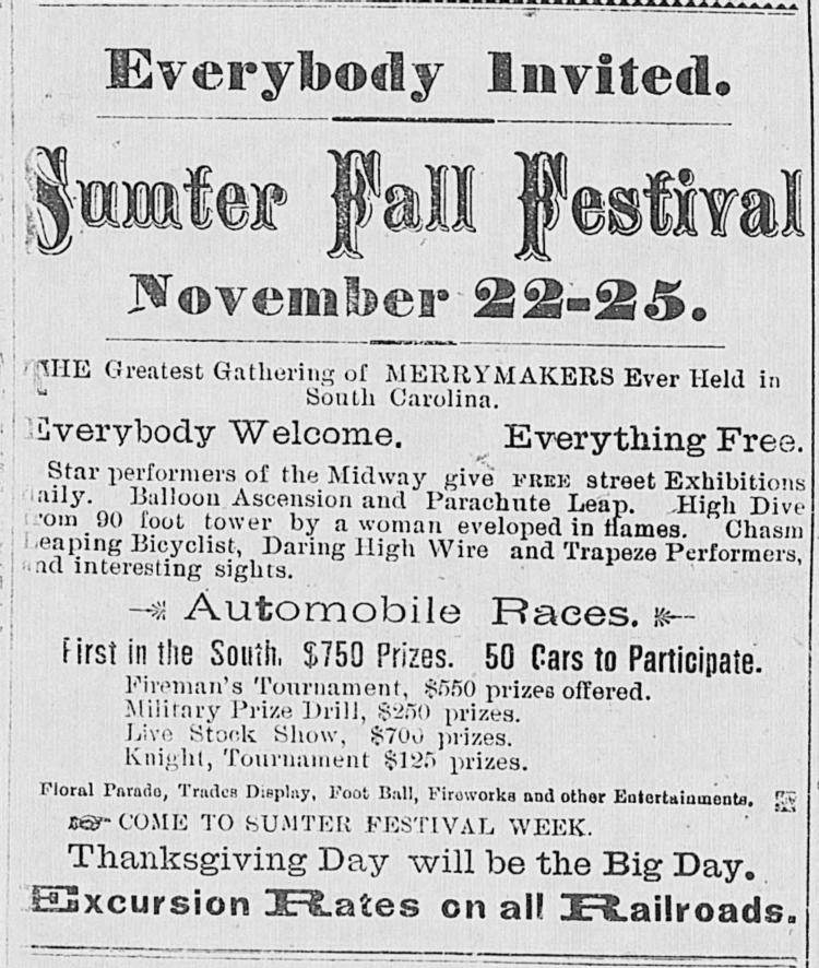 Реклама фестиваля в Самтере в 1904-м в газетах Южной Каролины