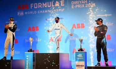 Подиум первой гонки ФЕ в Саудовской Аравии